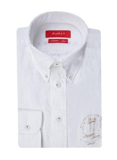 Damat Comfort Baskılı Gömlek Beyaz